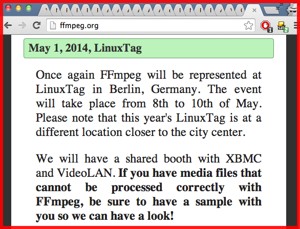 FFmpeg platform agnostic record convert stream transcode video free open source hand in glove with XBMC