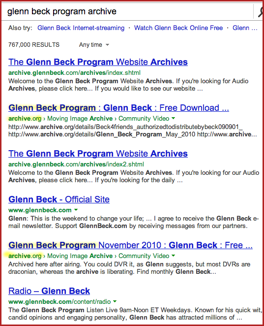 glenn beck program archive bing results