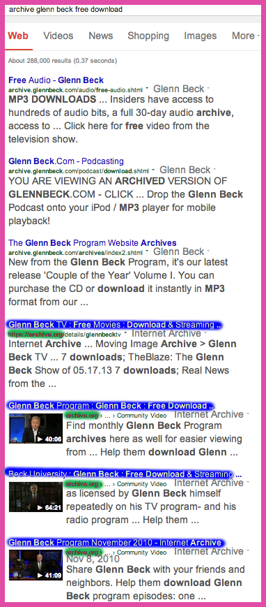 The Blaze TV tinkers with free downloads descriptors to gain google rank against The Archive.org glenn beck results licensed by Beck