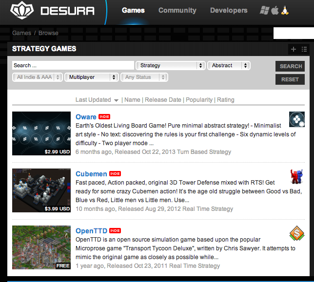 dearth of abstract strategy games on desura for osx or linux