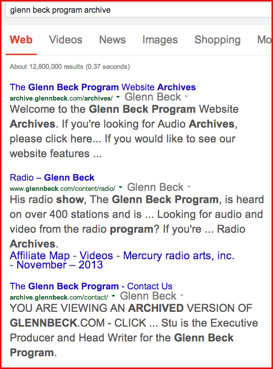 glenn beck program archive results the archive above glenn beck domain result