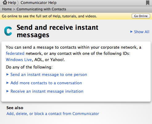 microsoft communicator federated network and legacy Windows Live aol yahoo