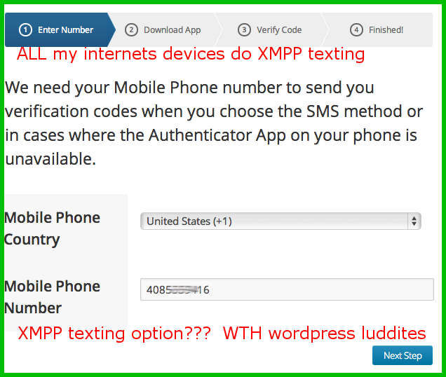 wordpress laughable two factor options pander to luddites and cretins