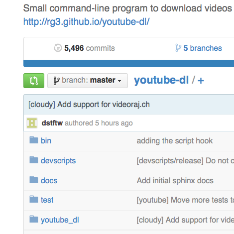 github youtube-dl video download script command line cspan popular video streaming sites