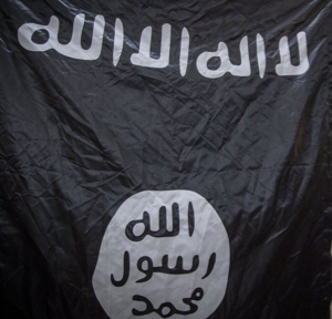islamic state caliphate flag of freedom to become a slave to the false god allah not-akbar