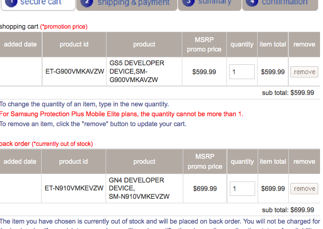 samsung note 4 developer edition backorders now