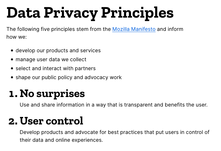 how are firefox hidden preferences compatible with mozilla data privacy principles 1 and 2