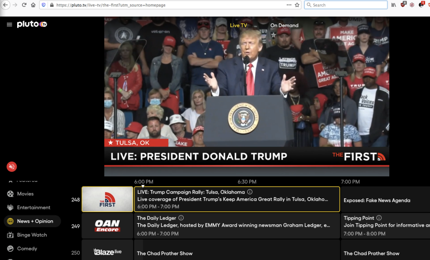pluto.tv the first live trump 2020 06 20 rally for freedom